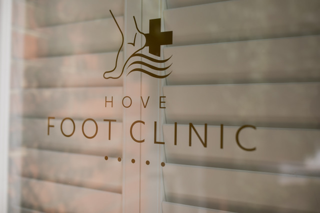 Hove Foot Clinic logo on the entrance of podiatry clinic in Hove - Podiatrist in Hove and Brighton - Hove Foot Clinic